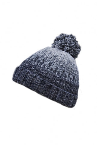 Blue and grey beanie hat with bobble on top