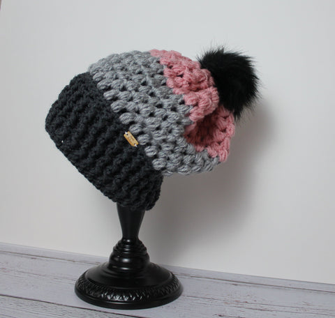 Piper Slouch Beanie - Pink/Gray/Charcoal