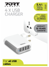 Port Wall Charger 4 USB (UK)