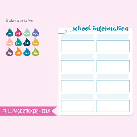 full page - TN or rings - school information | sticker sheet | FP-205