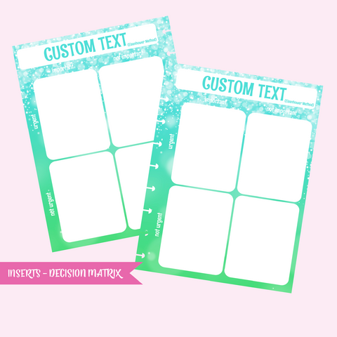 inserts - decision matrix | double-sided - pack of 10 | The Happy Planner - classic mini micro | IN-109