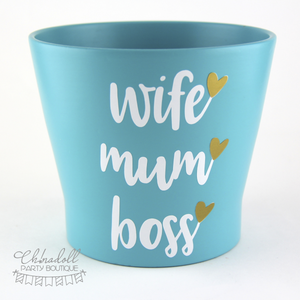 flower pot | large | wife mum boss | READY TO SHIP