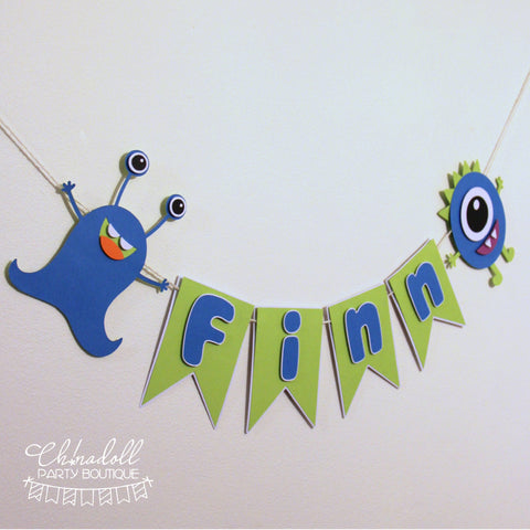 little monsters party bunting | personalised