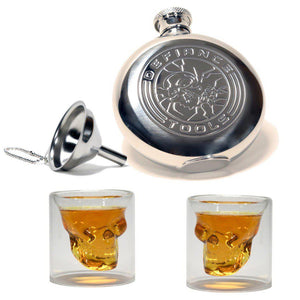 Travel Flask & 2 Skull Glass Combo