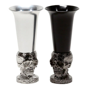defiance tools metal black and silver skull shot glass