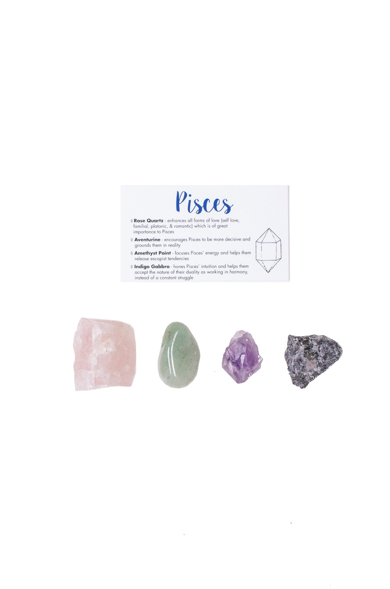 pisces crystal set rose quartz aventurine amethyst point indigo gabbro