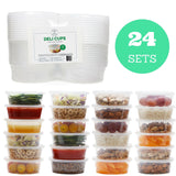 Food Storage Containers - Restaurant Deli Cups/Leakproof/Freezer and Dishwasher Safe/Great for Portion Control, Leftovers, Baby Food, Kids Lunch Boxes and Crafts (24, 10 oz)