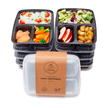 3 Compartment Reusable Food Prep Containers with Lids, Bento Lunch Box, Microwave and Dishwasher Safe