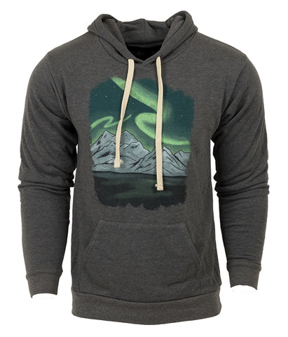 "Unisex Ice Age Trail outdoor artist series organic ""Northern Lights"" hoodie sweatshirt grey"