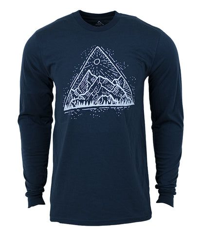 "Seek Dry Goods outdoor artist series organic ""mountain view""  long sleeve t-shirt navy"