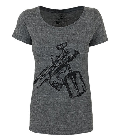 "Womens Seek Dry Goods outdoor artist series ""safety check"" t-shirt charcoal"