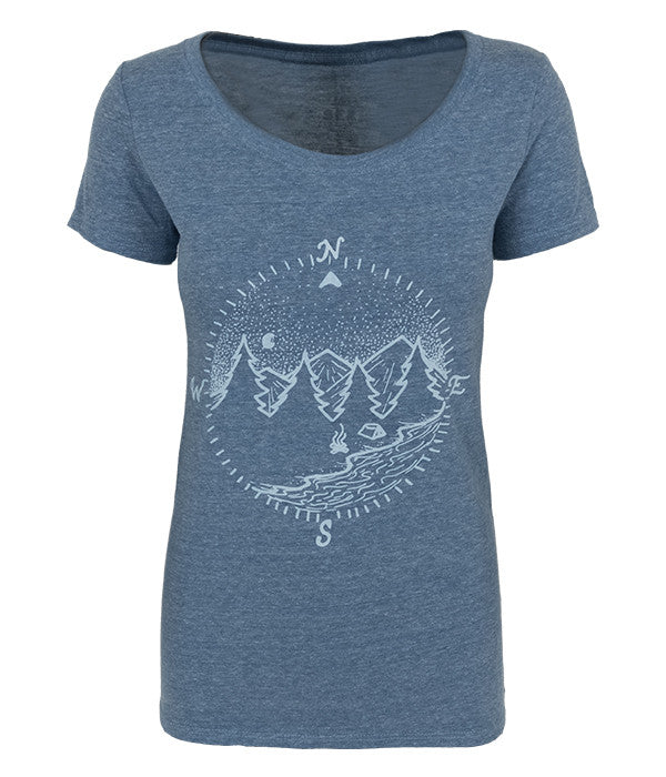 "Womens Seek Dry Goods outdoor artist series ""true north"" tri blend t-shirt blue"
