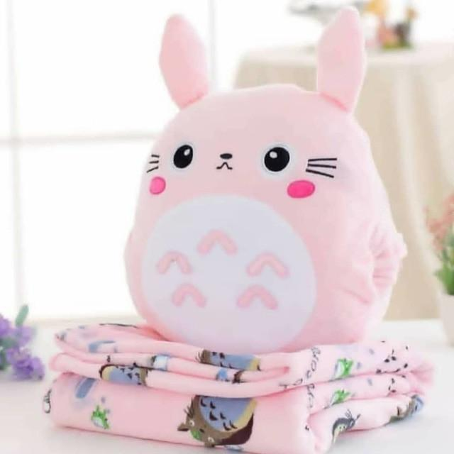 Pink/Grey Kawaii Totoro Three-Way Plush Cushion K13476