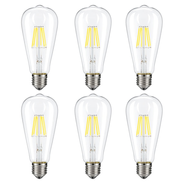 Dimmable Edison LED Bulb, Kohree 6W Vintage LED Filament Light Bulb, 4000K Daylight, 60W Incandescent Equivalent, E26 Base Lamp for Restaurant,Home,Reading Room,Office, Pack of 6