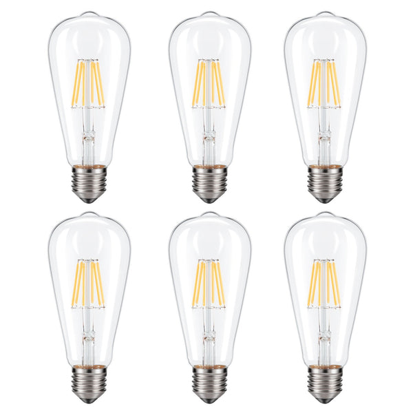 Dimmable Edison LED Bulb, Warm White 2700K, Kohree 6W Vintage LED Filament Light Bulb, 60W Incandescent Equivalent, ST64 E26 Medium Base Antique Style Lamp for Home, 6-Pack(NOT Daylight)