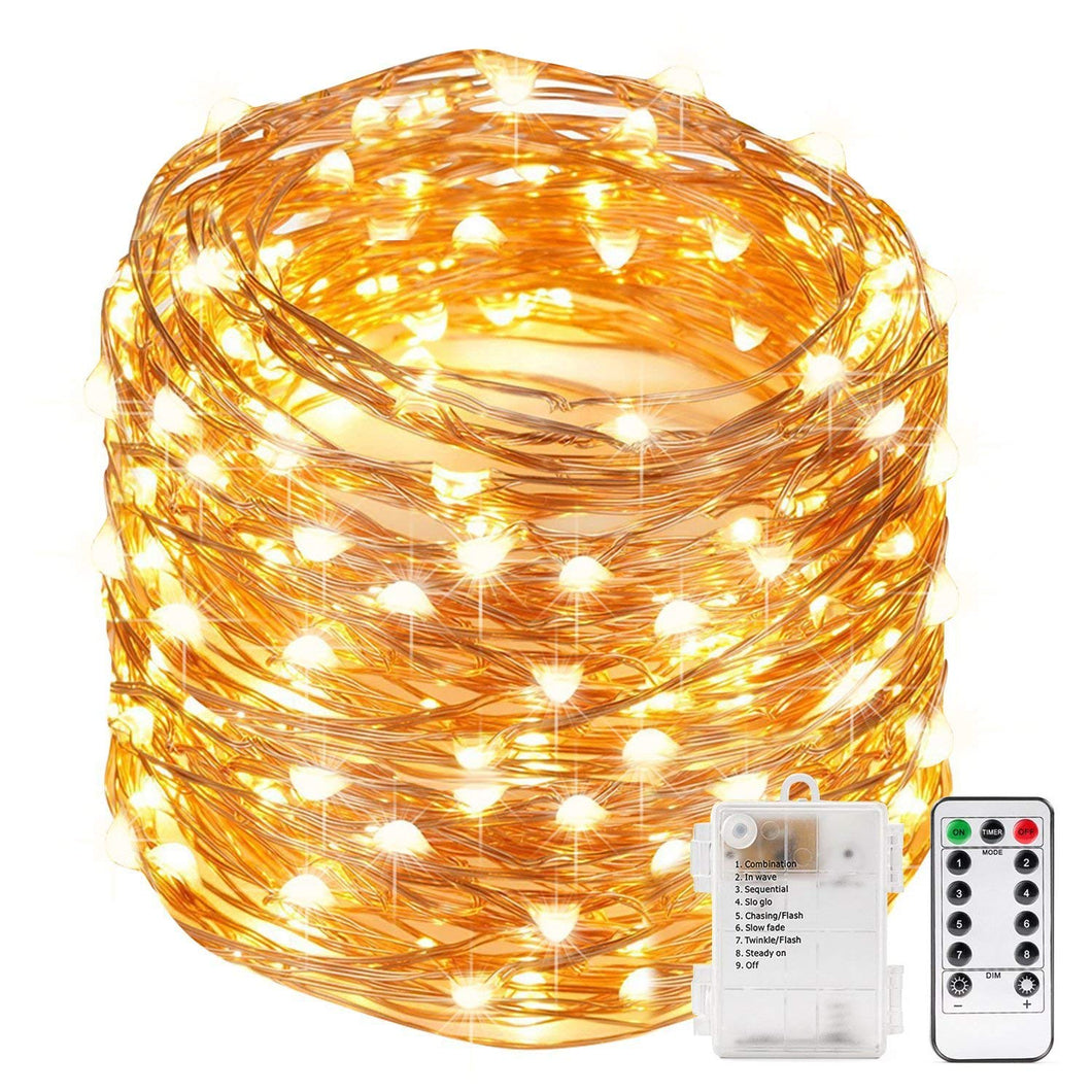 Kohree Xmas light String Lights Remote Control and Timer 40 Foot 120 LEDs Fairy Light Waterproof Battery Powered Long Ultra Thin Copper Wire Lights Perfect for Holiday Xmas Decoration, Weddings