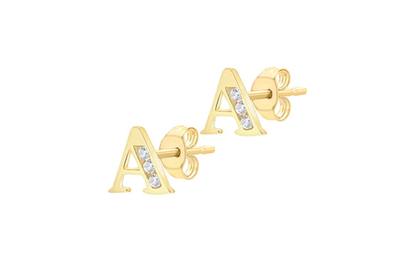 9ct Yellow Gold Initial 'A' Crystal Stud Earring