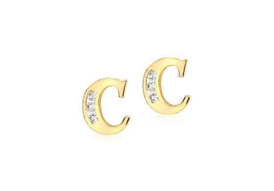 9ct Yellow Gold Initial 'C' Crystal Stud Earring