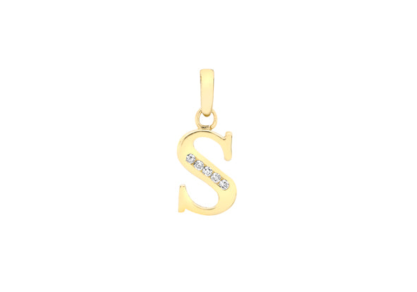 9ct Yellow Gold Crystal Initial 'S' Necklace