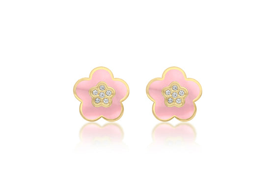 9ct Yellow Gold CZ Pink Enamel Flower Stud Earrings