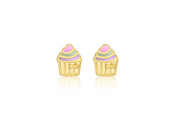 9ct Yellow Gold Enamel Cupcake Stud Earrings