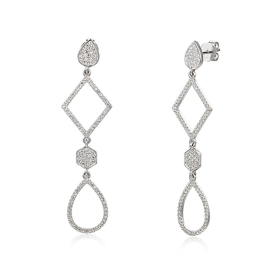 Long Drop White Gold & Diamond Multi-Shape Geometric Earring