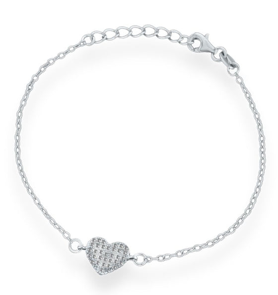 Sterling Silver Crystal Heart Bracelet