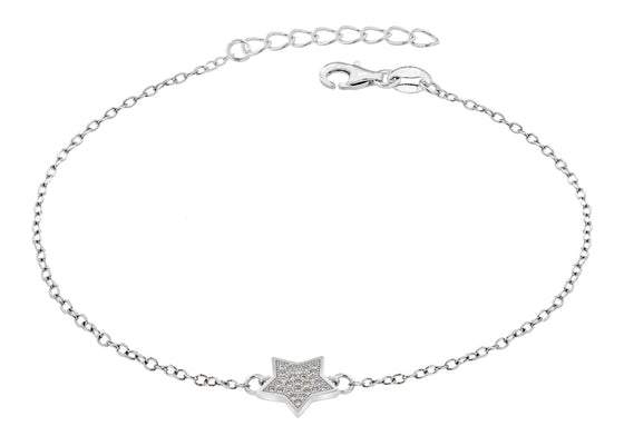 Sterling Silver Crystal Star Bracelet