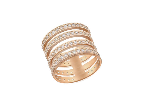 Rose Gold Plate Crystal Set Ladder Ring