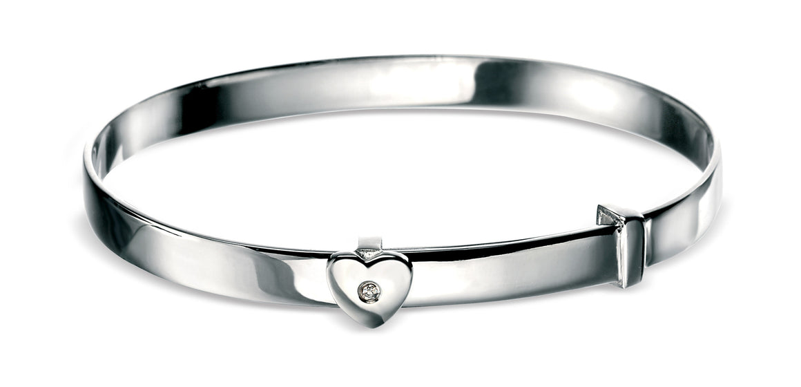 D for Diamond Silver Heart Solid Bangle