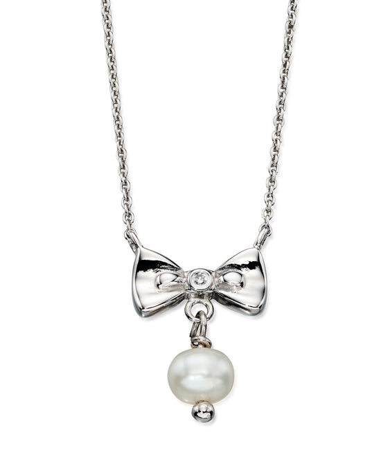 D for Diamond Bow and Pearl Pendant