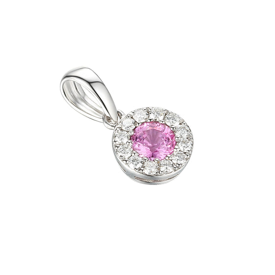 Pink Sapphire and Diamond Cluster Pendant White Gold