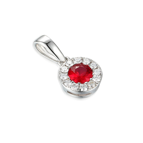 Ruby and Diamond Cluster Pendant White Gold