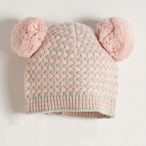Chunky Knitted Hat With Pom Pom Ears Kids - Pale Pink/Grey