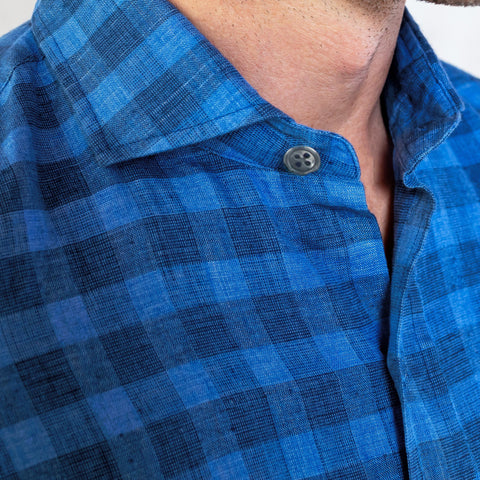 The Blue McClellan Cotton Linen Gingham Casual Shirt