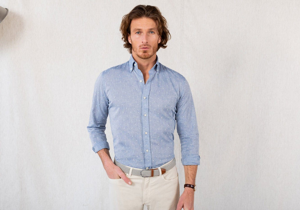 The Washed Blue Ghaiser Clipped Dot Casual Shirt