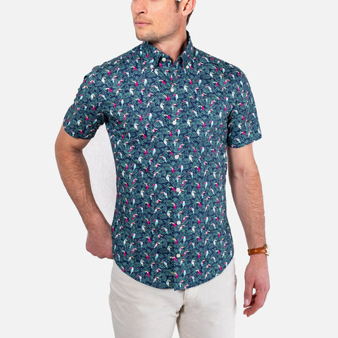 The Short Sleeve Tropicale Printed Poplin Casual Shirt