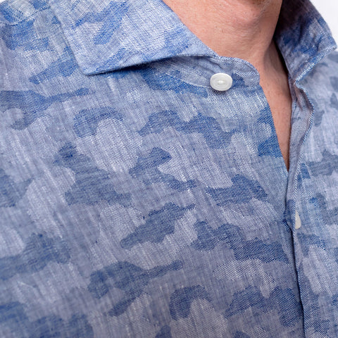 The Washed Blue Greggs Linen Jacquard Casual Shirt