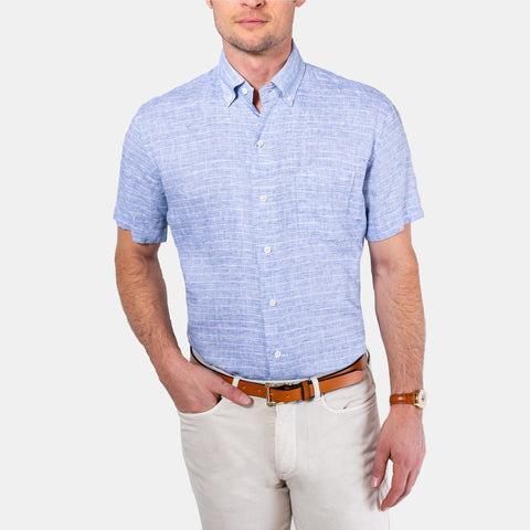 The Blue Short Sleeve Tremont Stripe Linen Casual Shirt