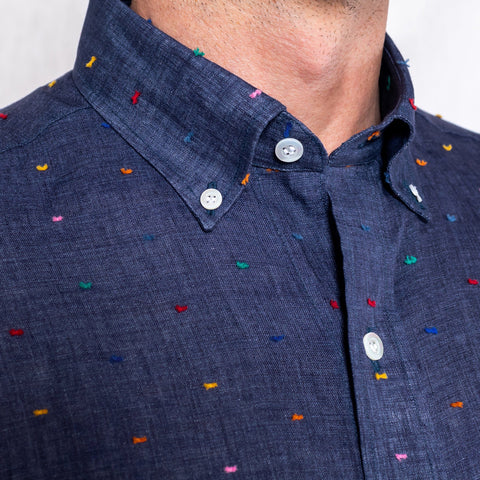 The Deep Blue Hadlow Fil Coupe Casual Shirt