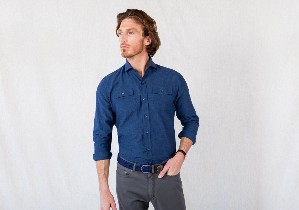 The Cadet Blue Newburn Chambray Casual Shirt