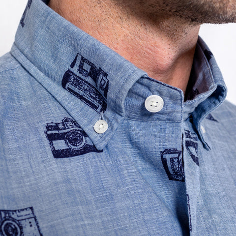 The Short Sleeve Wyman Printed Chambray Casual Shirt
