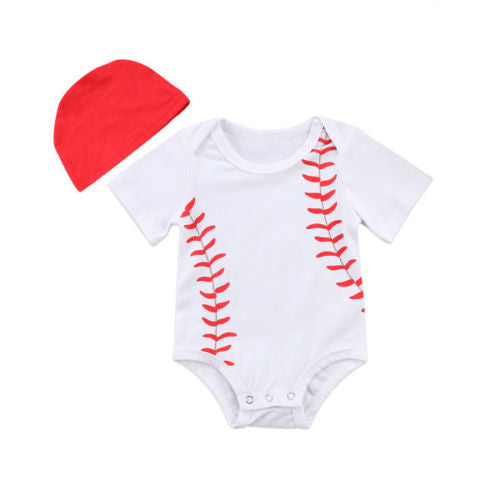 'Little Baseball' Onesie with Beanie