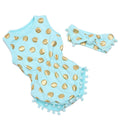 Polka Dot Girls Romper with Headband
