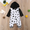 Black & White 'Dinosaur' Hooded Jumpsuit