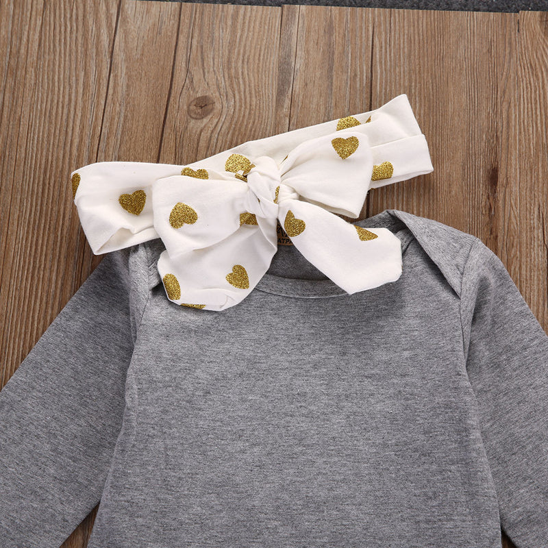 3 Piece Girls 'Polka Hearts' Outfit with Headband
