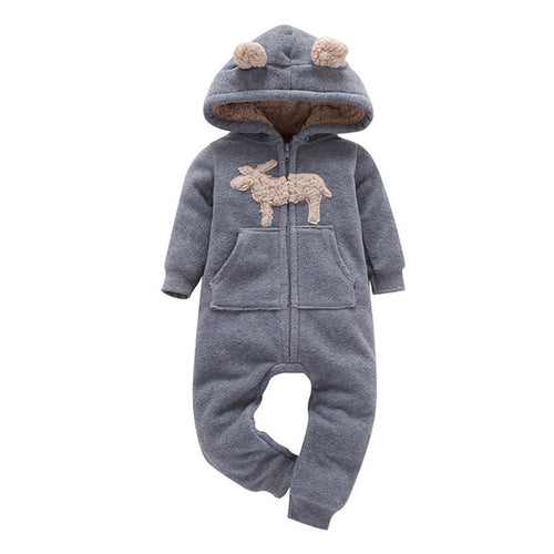 Hooded 'Deer' Fleece Jumpsuit