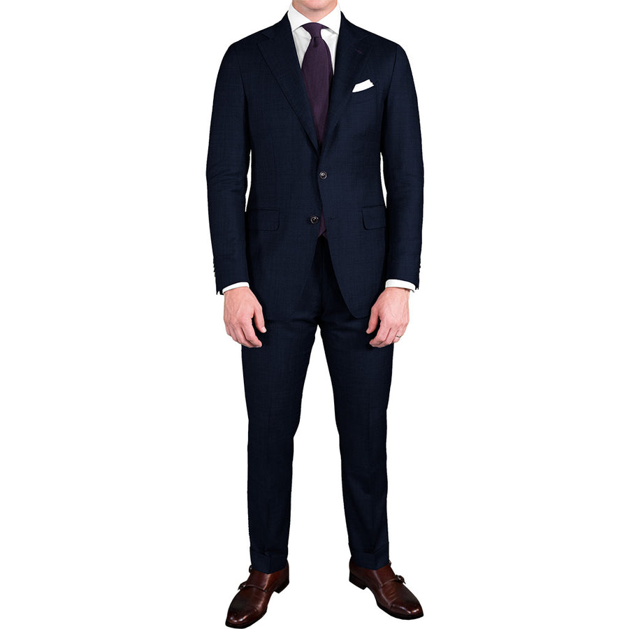 Navy Blue Bird's Eye Suit