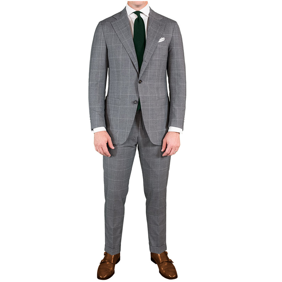 Light Grey Windowpane Suit