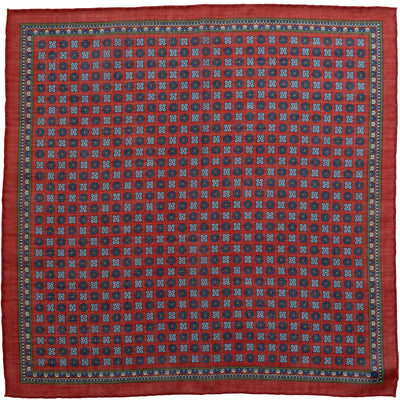 Burgundy Medallion Pocket Square - Beckett & Robb
